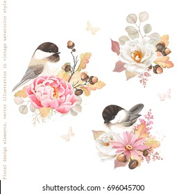 Floral autumn decorations with flower pink Peony, white Rose, oak branches, acorns and birds Black-capped Chickadee. Vector illustration in vintage watercolor style.