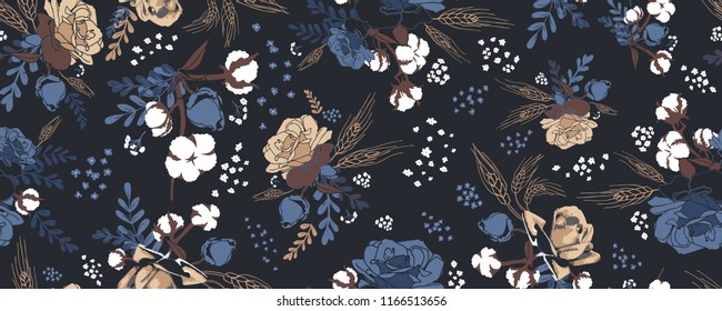 Floral autumn field vector patterns, seamless, colorful, blue, white, brown