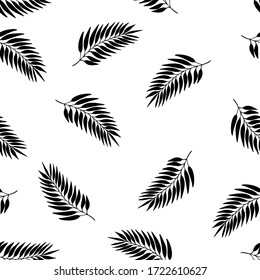 Floral autumn seamless pattern with black exotic leaves silhouette on white background. Tropic branches. Fashion vector stock illustration for wallpaper, posters, card, fabric, textile.