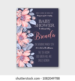 Floral baby shower invitation pink Rose-dog jasmine sakura on navy blue background