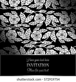 Floral background with antique, luxury black, metal silver vintage frame, victorian banner,damask floral wallpaper ornaments, invitation card, baroque style booklet, fashion pattern, template.