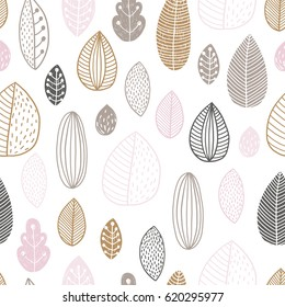Floral background, baby seamless pattern with spring leafs. Pastel colors