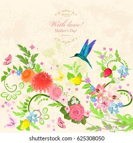 Floral background with bird