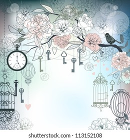 Floral background. Birds, cages, clock, keys, peonies. EPS10