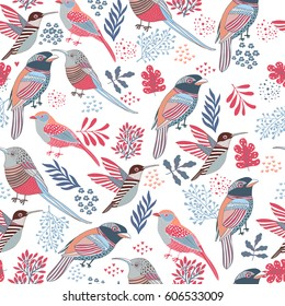 Floral Background .Birds seamless pattern.