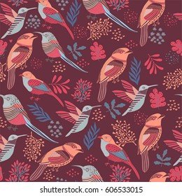 Floral Background .Birds seamless pattern. Red Background