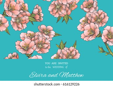 Floral background with blooming almond branches. Vintage botanical illustration   with hand drawn spring sakura. Vector texture with pink flowers of apple, cherry or peach tree for poster