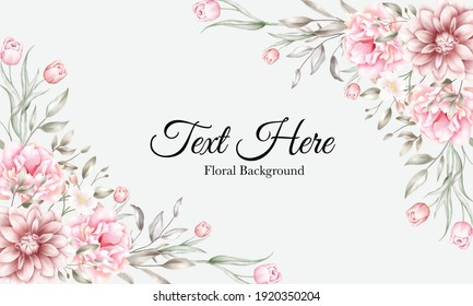 Floral background with brown and peach flowers and leaves decoration