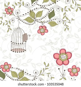 Floral background with cage, vector