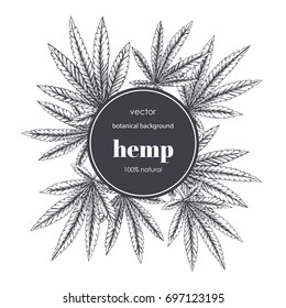 Floral background with cannabis leaves. Vector botanical hand drawn illustration with hemp foliage in sketch style.