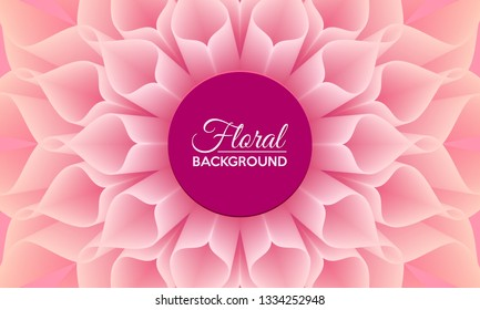 Floral background with close up detail of big pink dahlia flower. Vector illustration.