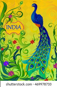 Floral background with colorful Peacock showing Incredible India in vector