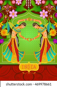 Floral background with Dancing Indian ladies showing Incredible India in vector