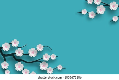 Floral background decorated blooming cherry flowers branch, bright blue backdrop for spring time season design. Banner, poster, flyer with place for your text. Paper cut out style, vector illustration