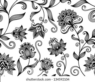 Floral background with decorative ornament. Seamless pattern for your design wallpapers, pattern fills, web page backgrounds, surface textures.