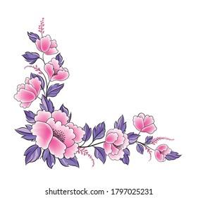 Floral background. Flower rose bouquet  decorative garland border. Flourish spring floral greeting card frame design
