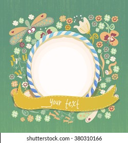 Floral background with flowers lisaves and dragonflies. Candy frame. Perfect for invitations, photos of collages. Vector illustration