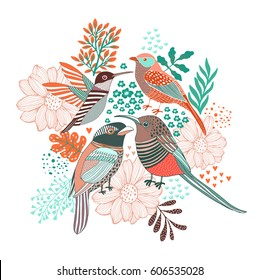 Floral Background with forest birds.