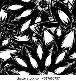 Floral background. Full seamless flower ornament for printing, textile, art design. Decorative vector backdrop. Monochrome, binary, black and white.