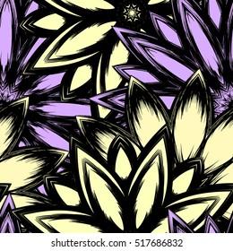 Floral background. Full seamless flower ornament for printing, textile, art design. Decorative vector backdrop. Color.