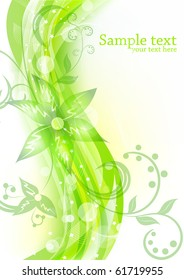 Floral background in green color
