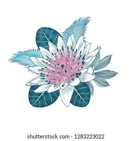Floral background with green leaves tropical, exotic cheilocostus, terminalia catappa and lotos flowers, and-drawn in abstract style.