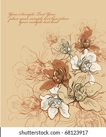 floral  background with a hand drawn flavor of blooming orchids