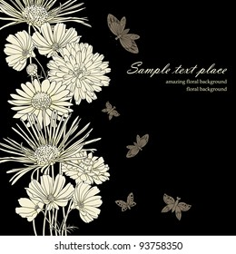 Floral background with hand drawn flowers.