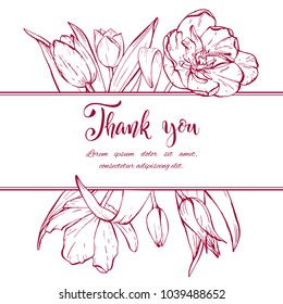Floral background. Hand drawn vector botanical illustration. Template greeting card, wedding invitation banner with spring flowers. Sketch linear tulips blossom.Engraved style illustration.