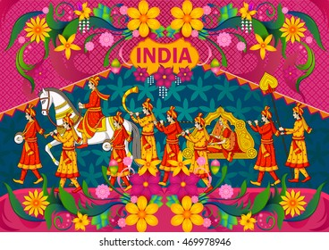 Floral background with Indian wedding baraat showing Incredible India in vector