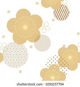 Floral background with Japanese pattern vector. Gold geometric pattern.