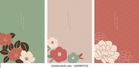 Floral background with Japanese wave pattern vector. Camellia flower frame with oriental style.