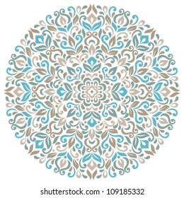 Floral background. Ornamental round pattern
