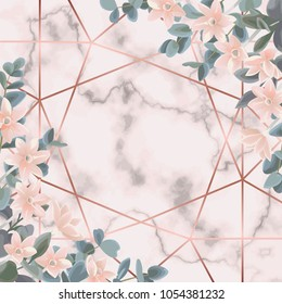 Floral background with pink gold geometric frame, flowers and eucalyptus on marble background. Fashion greenery botanical backdrop with watercolor effect. Template with text place.