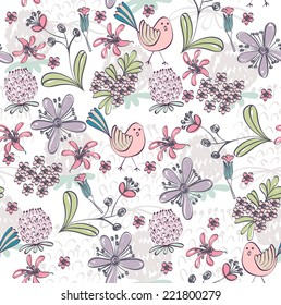Floral background. Seamless pattern with realistic plants.
