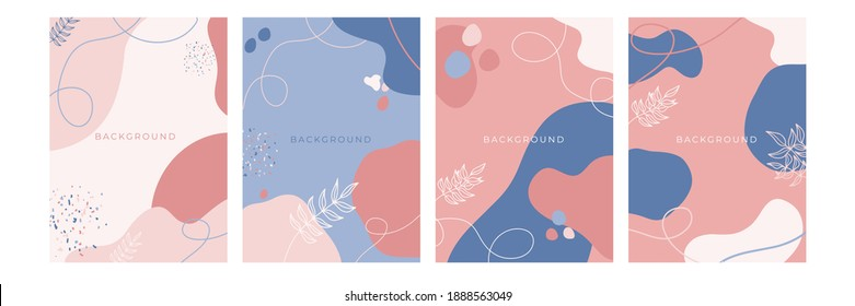 Floral background set. Abstract creative backgrounds in minimal trendy style with copy space for greeting card or cover presentation design templates. Blue pink pastel color social media template
