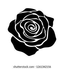 Floral background. Silhouette of roses on a white background.