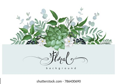 Floral background with succulent