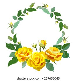 Floral Background with vintage label. Round frame with yellow realistic roses. Vector illustration