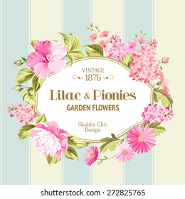 Floral Background with Vintage Label. Vector illustration.