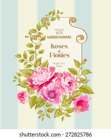 Floral Background. Vintage Label. Vector illustration.