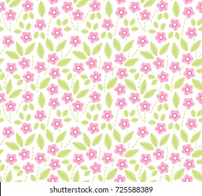 Floral background in vintage style. Decorative embroidery flowers. Vector seamless pattern. Ornament for textiles on white background. Small pink flowers. The elegant the template for fashion prints