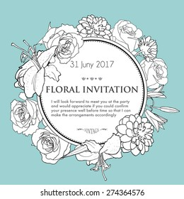 Floral background for wedding, birthday, invitation. Vector hand drawn illustration with lily, rose, dahlia