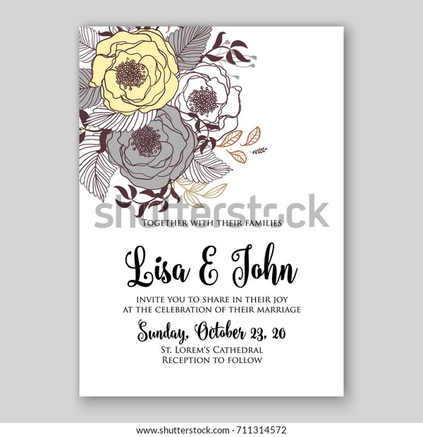 Floral Background Wedding Bridal Shower Invitation Stock