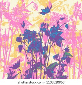 Floral Background withhand drawn herbs and wildflowers.  drawing style. vector illustration