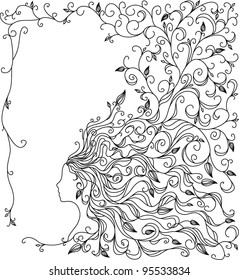 Floral background with woman's portrait for female design with place for text.