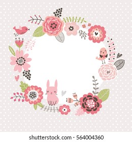 Floral background. Wreath frame with cute birds and a hare. Flowers card.