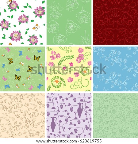 floral backgrounds flowers vector seamless patterns stock vector