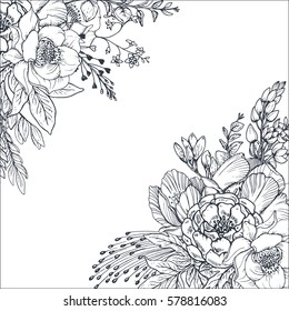 Floral backgrounds with hand drawn flowers and plants. Monochrome vector illustration in sketch style.