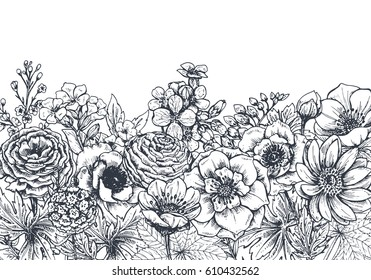 Floral backgrounds with hand drawn spring flowers and plants. Monochrome vector illustration in sketch style.